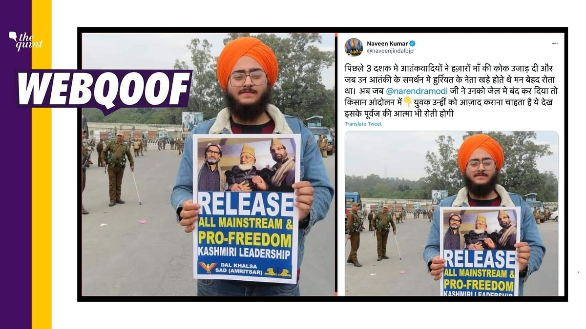 Pic of Man Holding Placard on Kashmir Isn't from Farmers' Protest
