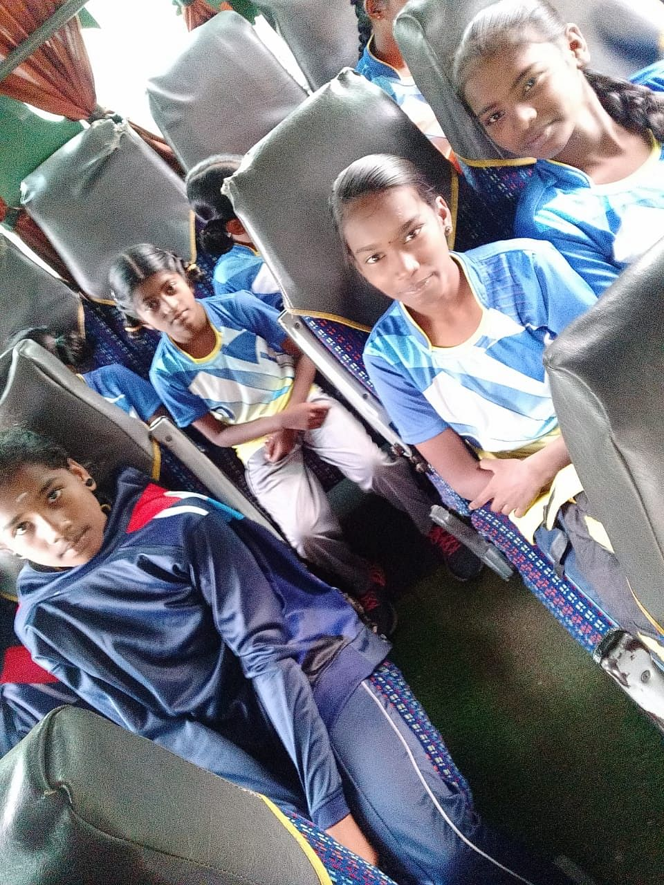 GLS Academy girls on their way to Ariyalur for the match.