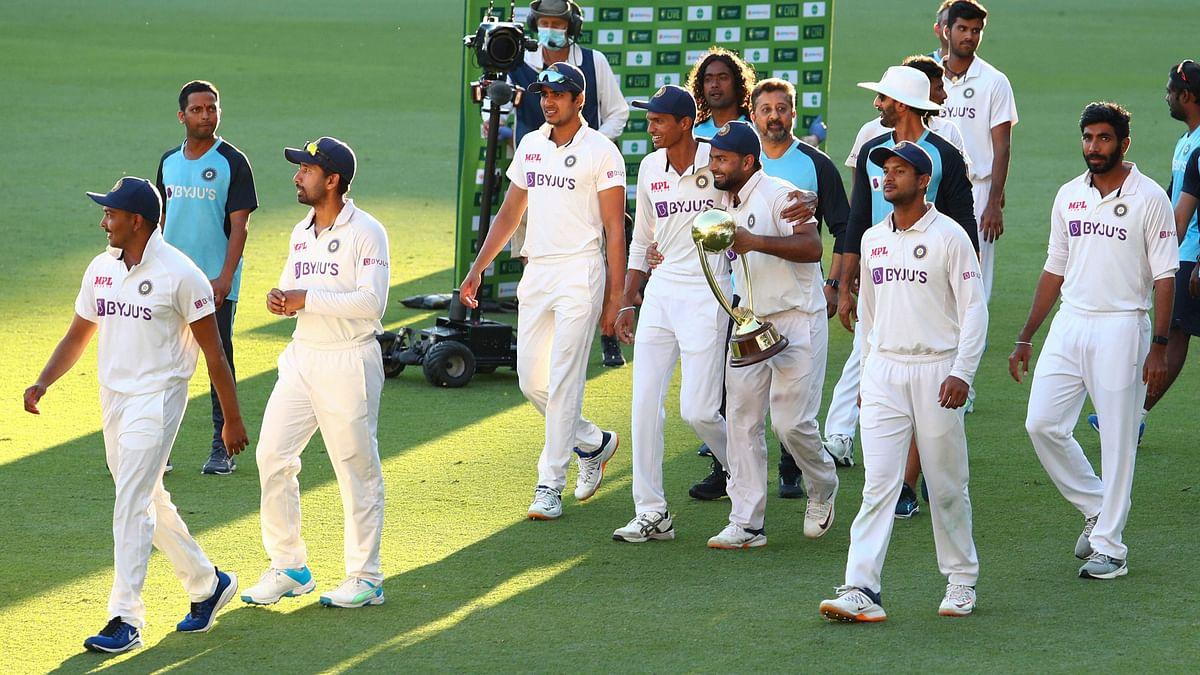 India with the Border-Gavaskar Trophy at the Gabba.