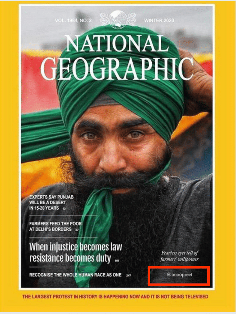 Artiste's 'Cover' on Farmers Is Not From National Geographic