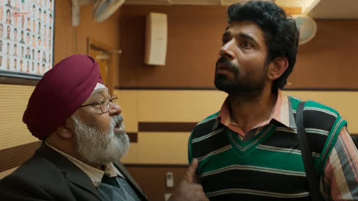 Vineet Kumar Singh and Saurabh Shukla in <i>Aadhaar</i>.