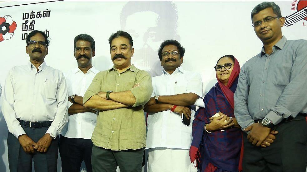 Kamal Haasan with the contestants during the 2019 Lok Sabha election season.