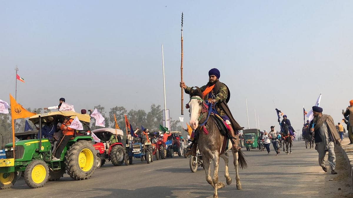 Nihang horsemen near the Singhu border.
