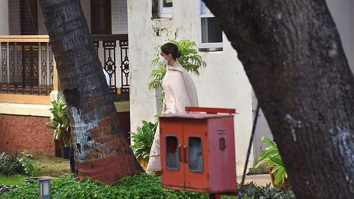 Deepika Padukone leaving the NCB headquarters in Mumbai after questioning.