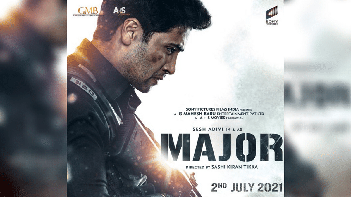 A poster for <i>Major</i> featuring Adivi Sesh as Major Sandeep Unnikrishnan.