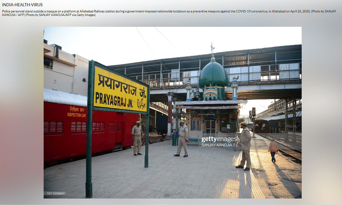 Photo From Prayagraj Shared as Mosque on Old Delhi Railway Station