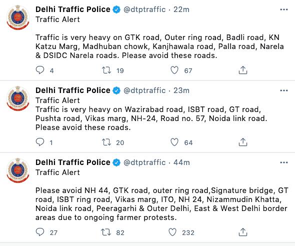 Delhi police issues traffic alert on roads to avoid.