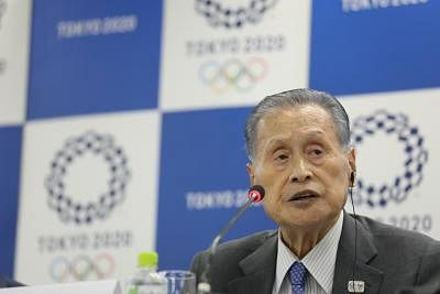 TOKYO, July 23, 2019 (Xinhua) -- Yoshiro Mori, the President of Tokyo Organising Committee of the Olympic and Paralympic Games (Tokyo 2020), attends the IOC - Tokyo 2020 joint press conference for the 10th Project Review meeting between the IOC and the Tokyo Organising Committee of the Olympic and Paralympic Games (Tokyo 2020) in Tokyo, Japan, on July 23, 2019.