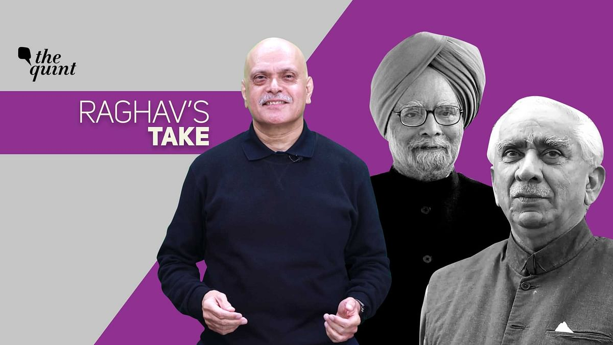 Image of Raghav Bahl (centre), Jaswant Singh (extreme R) and Dr Manmohan Singh used for representational purposes.