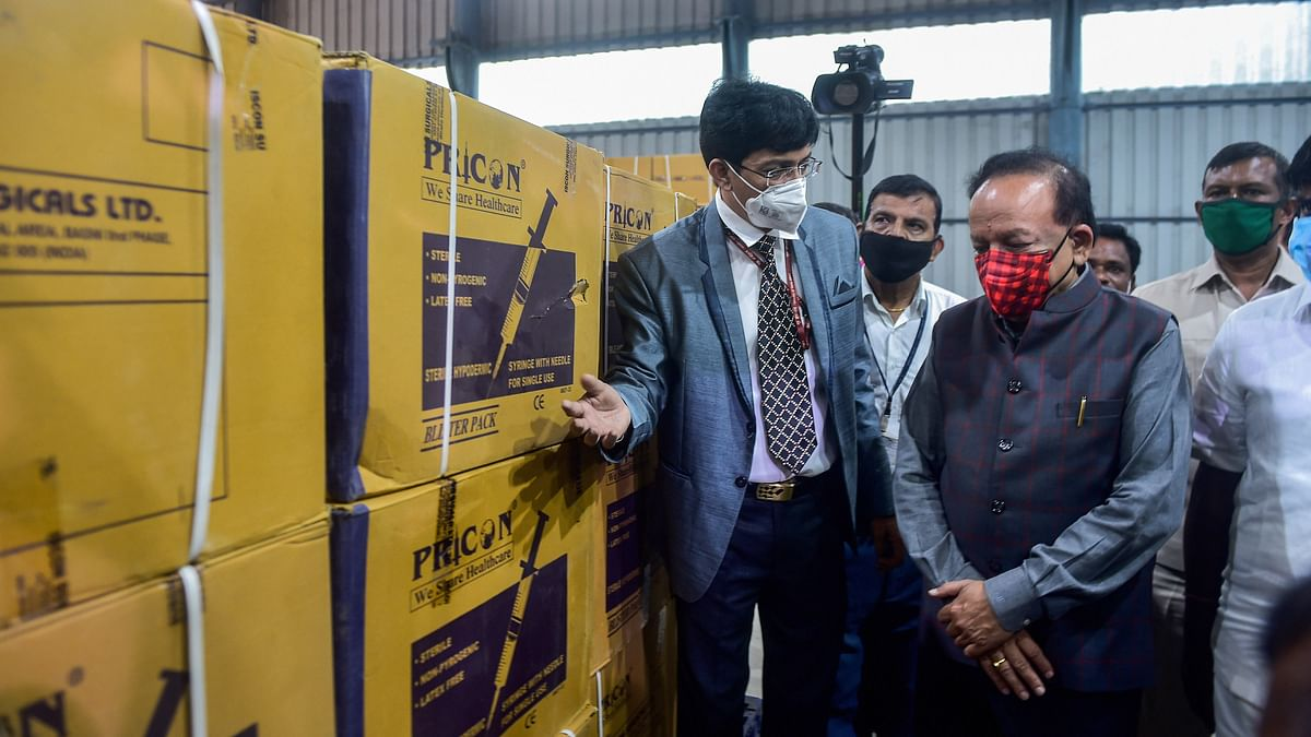Chennai: Union Health Minister Harsh Vardhan along with Health Secretary J. Radhakrishnan (L) during his visit to review the dry run for administering COVID-19 vaccine, at a COVID-19 vaccine storage and distribution centre in Chennai, Friday, 8 January 2021. Image used for representation.