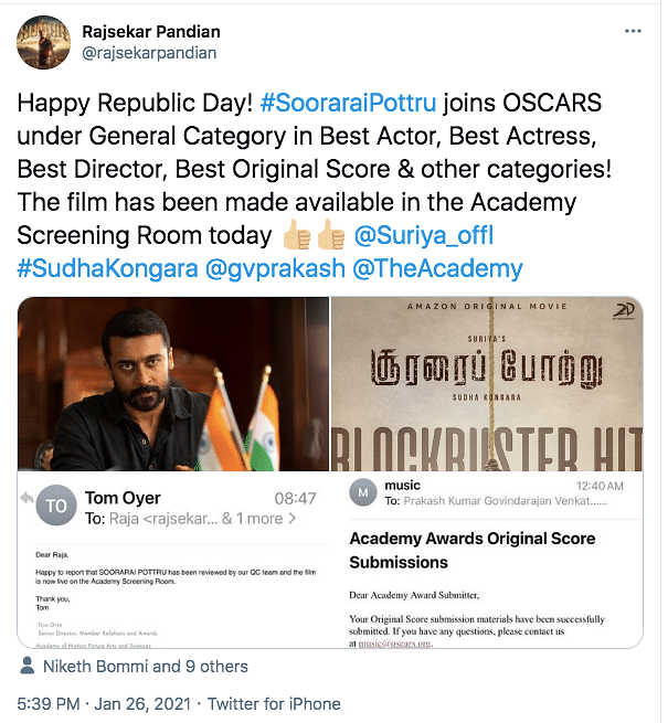 Here's What You Need to Know About Soorarai Pottru Going to Oscars