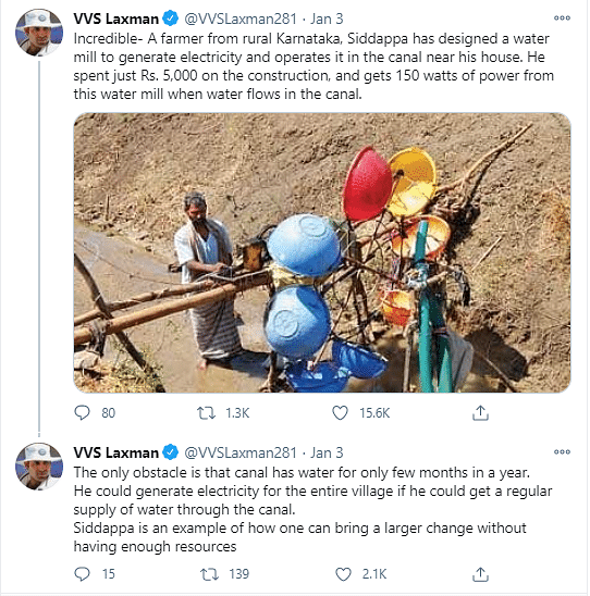 Cricketer VVS Laxman Lauds Karnataka Farmer's Unique Water Mill