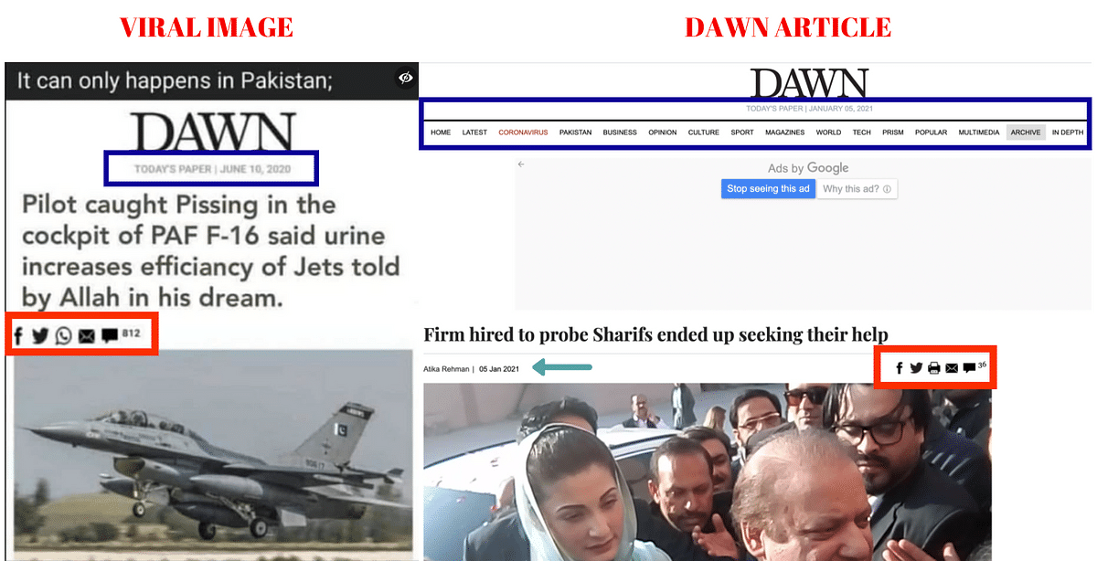 Left: Viral image; Right: The official Dawn article