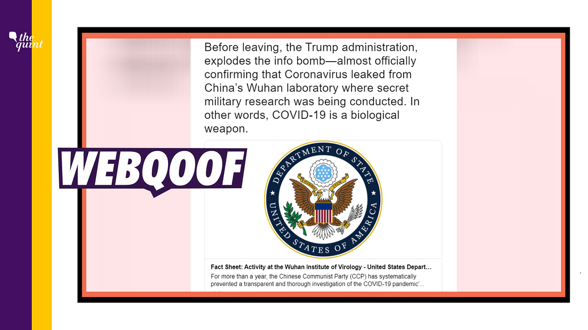 US Govt Fact Sheet Misrepresented to Claim COVID-19 Was 'Lab-Made'