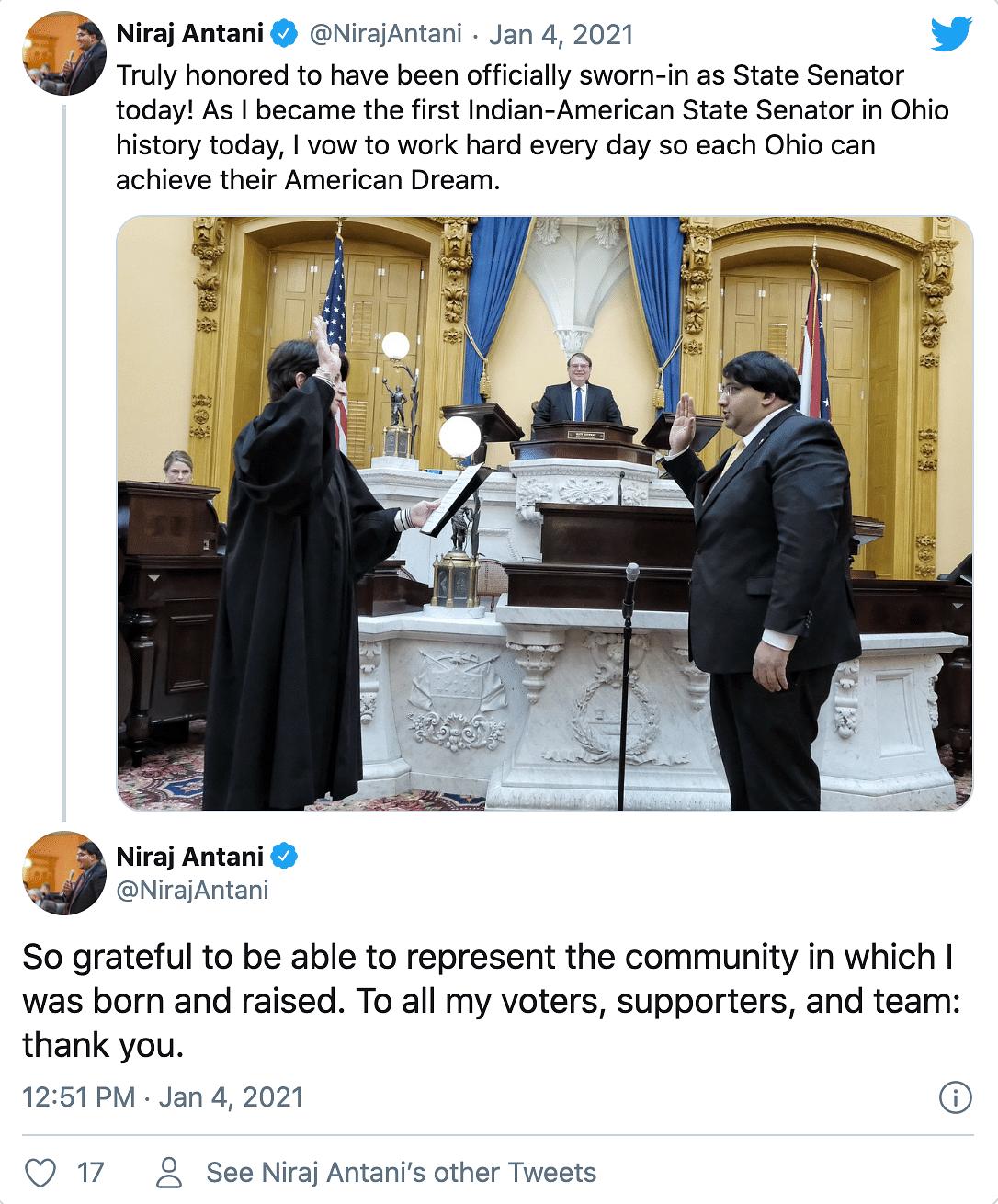 Ohio Gets Its First Indian-American Senator – Niraj Antani