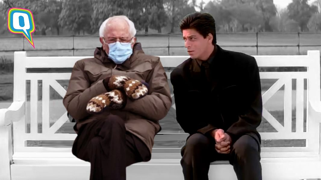 A Lone Bernie Sanders Sitting With His Mittens: Bollywood Edition