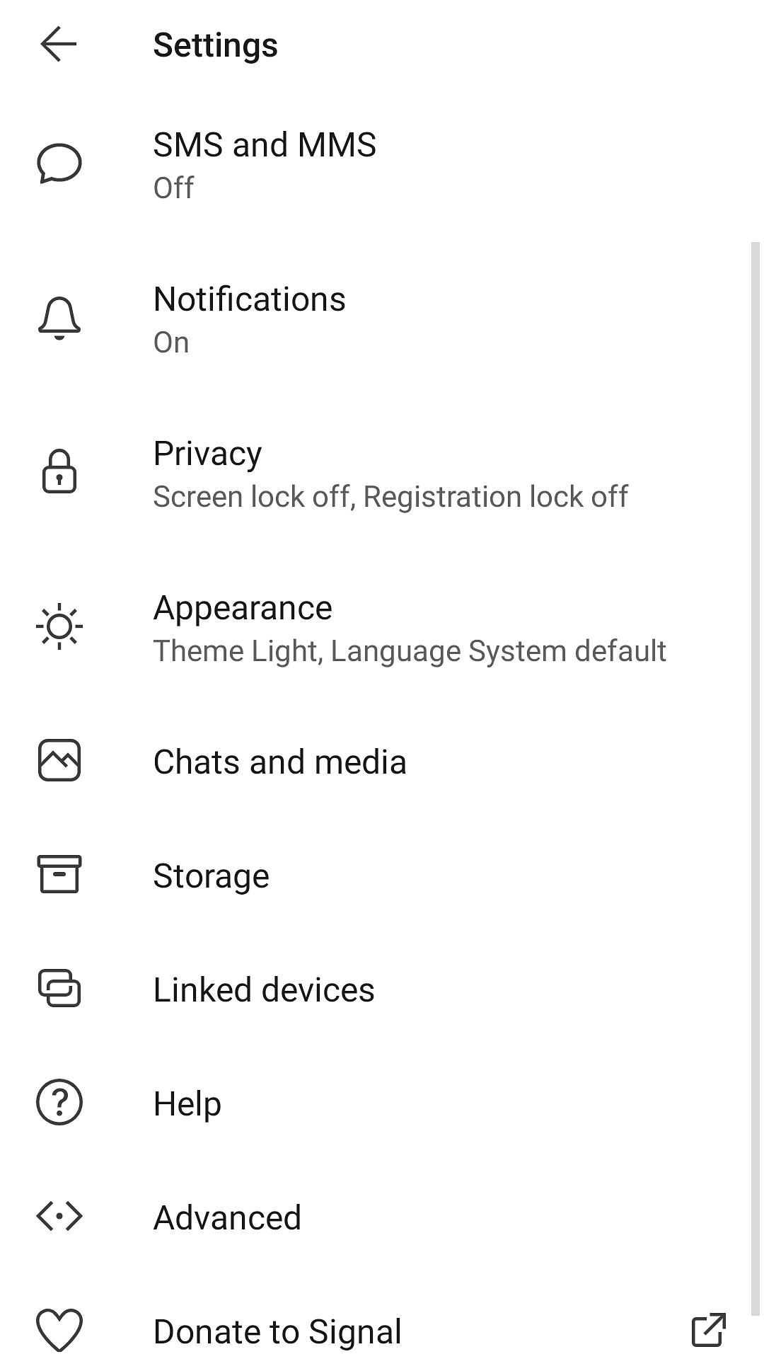 Disable notification on Signal app