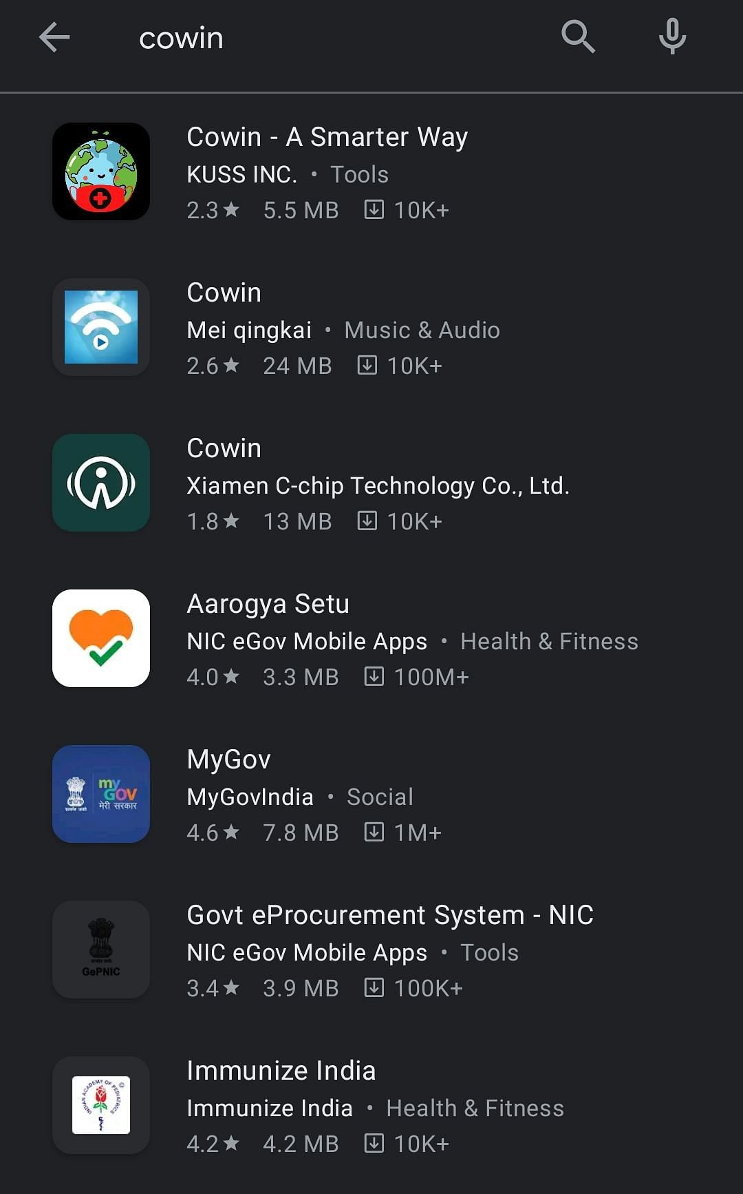 Search results for Co-WIN app on Google Play Store.