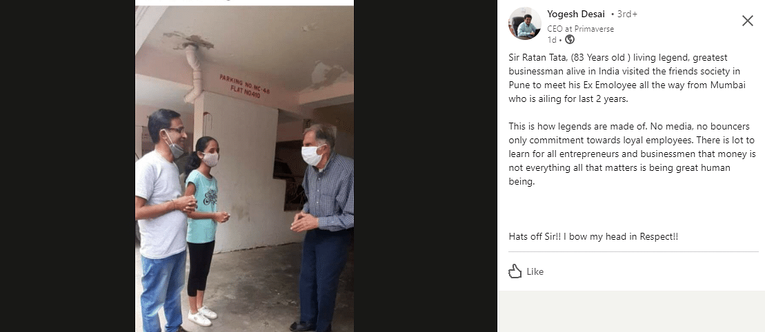 83-Year-Old Ratan Tata Visits Ailing Former Employee In Pune