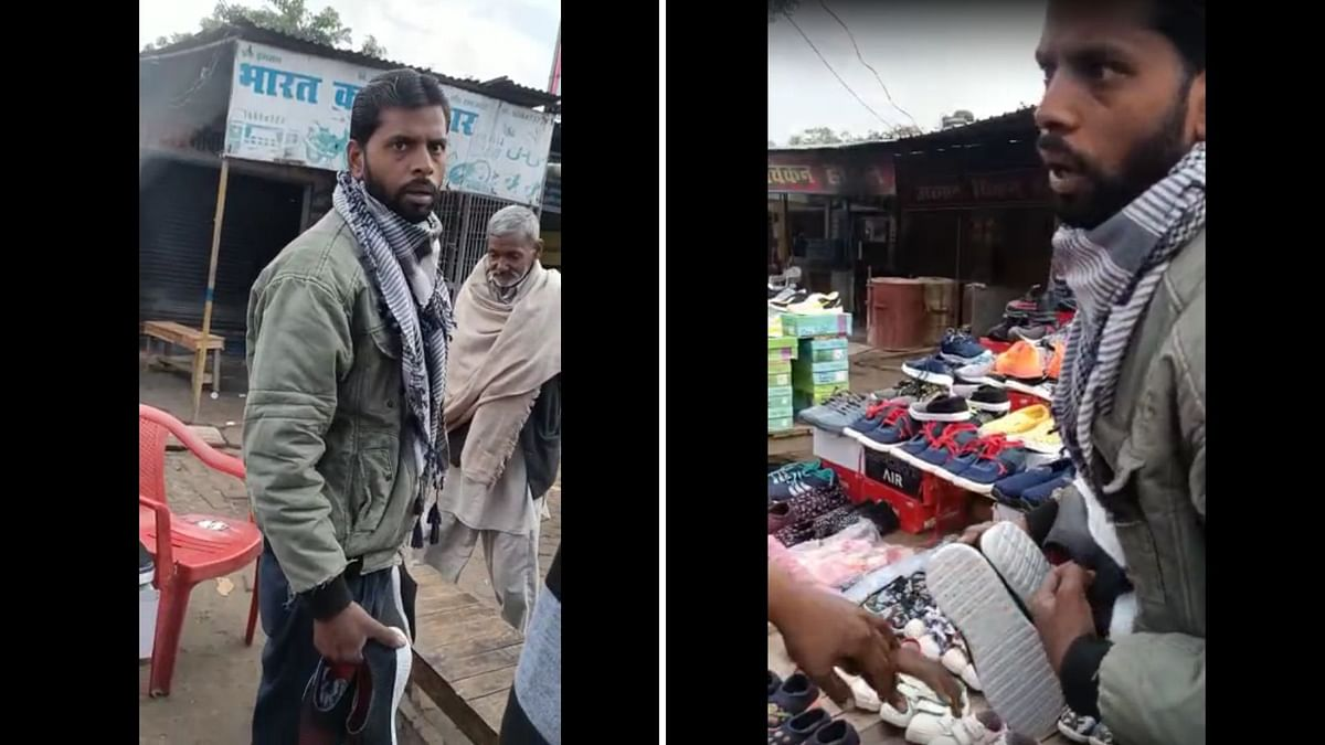 A local Bajrang Dal leader saw a Muslim shopkeeper selling shoes with <i>'thakur' </i>written on its soles and filed an FIR.