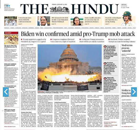 The Hindu: Biden Win Confirmed Amid Pro-Trump Mob Attack