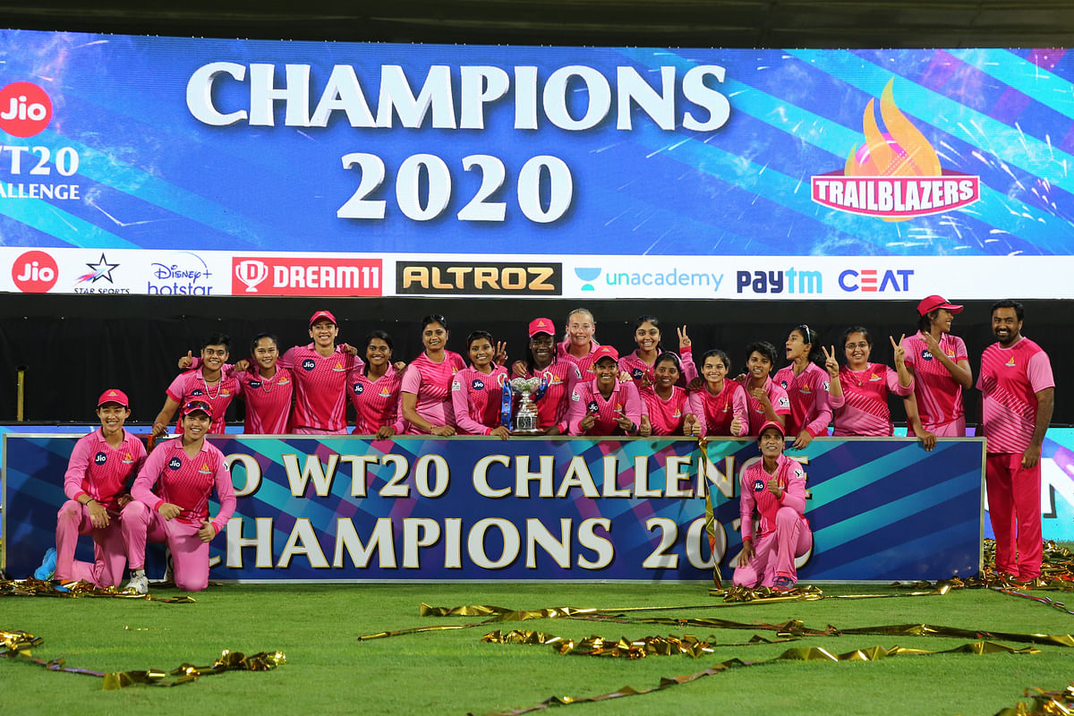 Champions Trailblazers celebrate after winning the 2020 final of the Jio Women's T20 Challenge at the Sharjah Cricket Stadium in the United Arab Emirates.