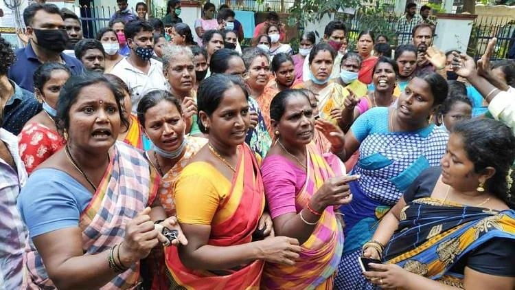 Sanitation workers protesting in Chennai.