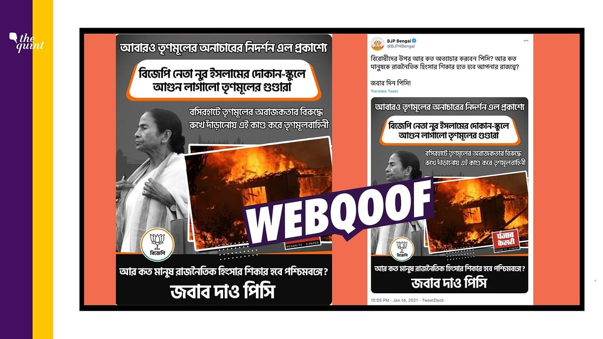 BJP Bengal Uses  Pic From California to Say TMC Vandalised Homes