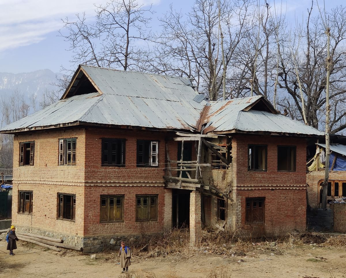 Abandoned Kashmiri Pandit house in Ganishpora, Anantnag, in Kashmir.