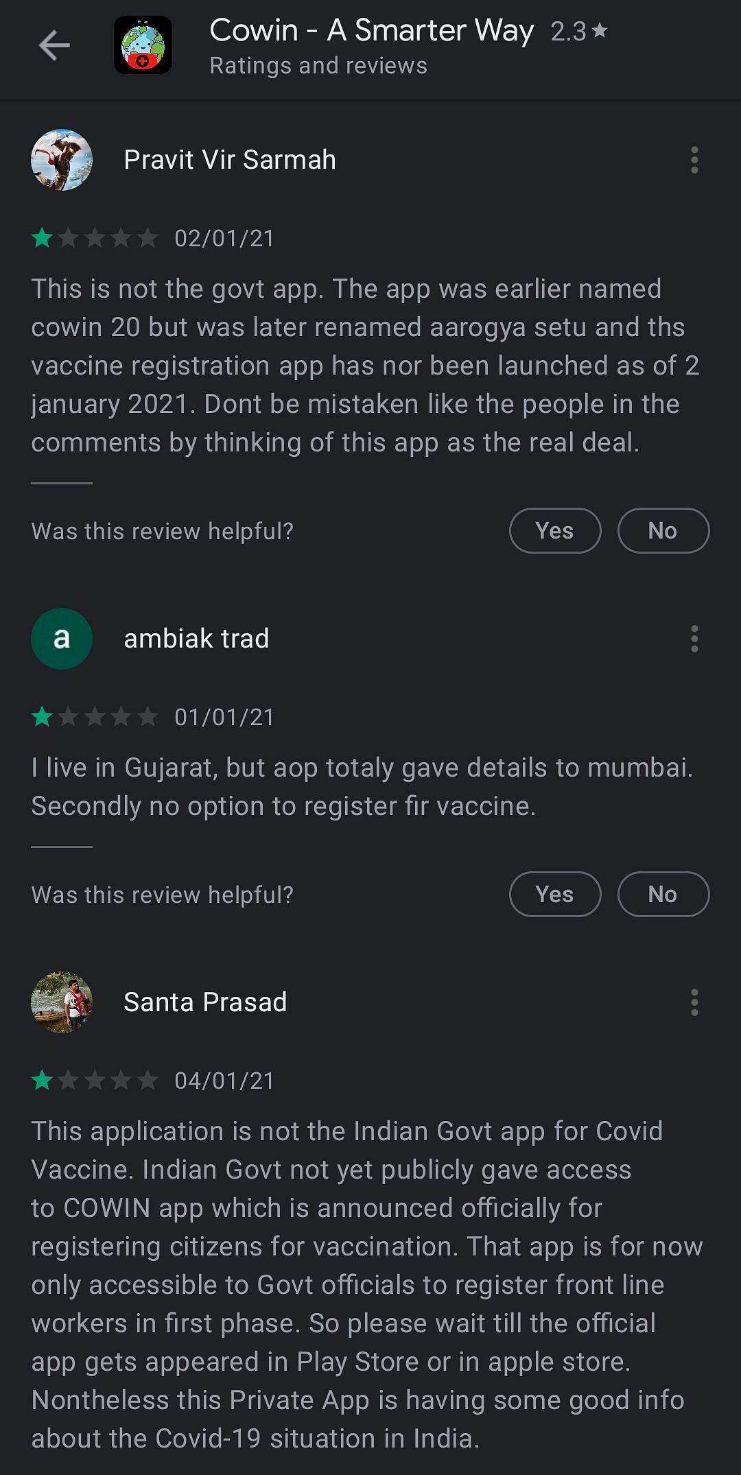 Reviews on the Cowin app in Google Play Store.