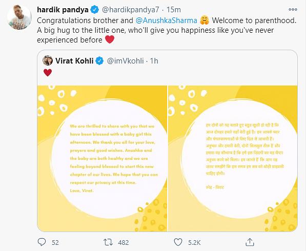 Saina Nehwal, Hardik Pandya & More Congratulate Virat & Anushka