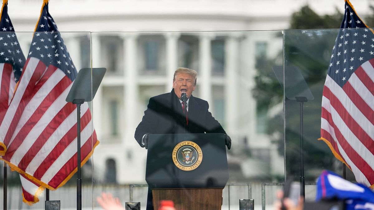 President Donald Trump speaks during a rally protesting the electoral college certification of Joe Biden as President on Wednesday, 6 January 2021 in Washington.