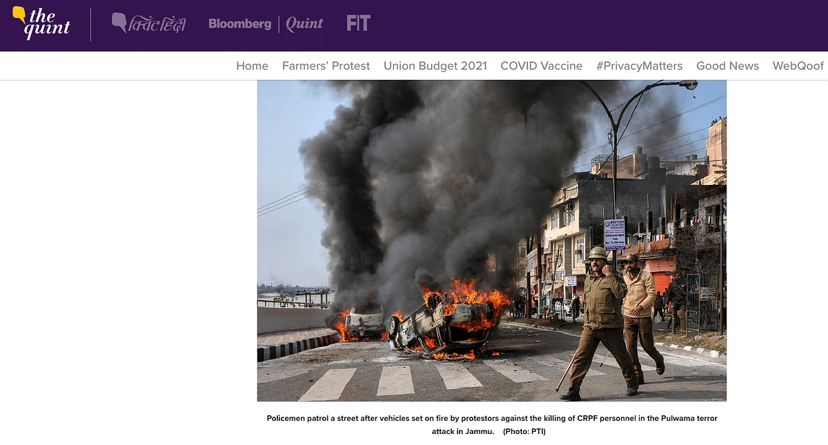 Pictures From Pulwama Attack Shared As 'Latest Images From Delhi'