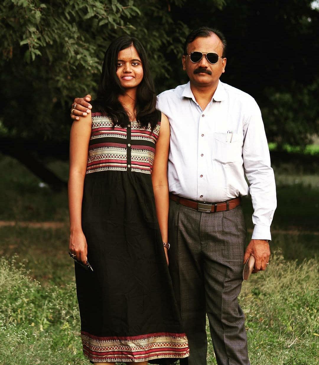 Aleikhya with her father Purushottam.