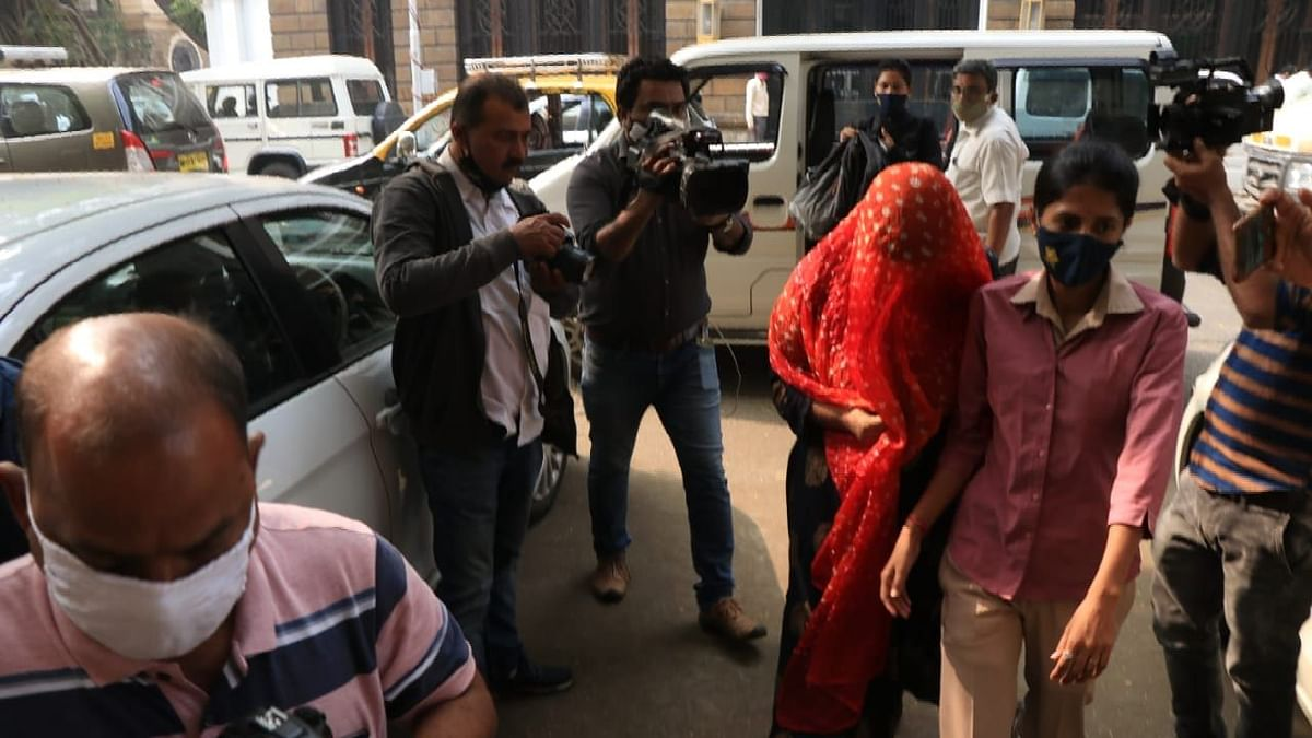 Tollywood actor Shweta Kumari arrives at the NCB office for questioning.
