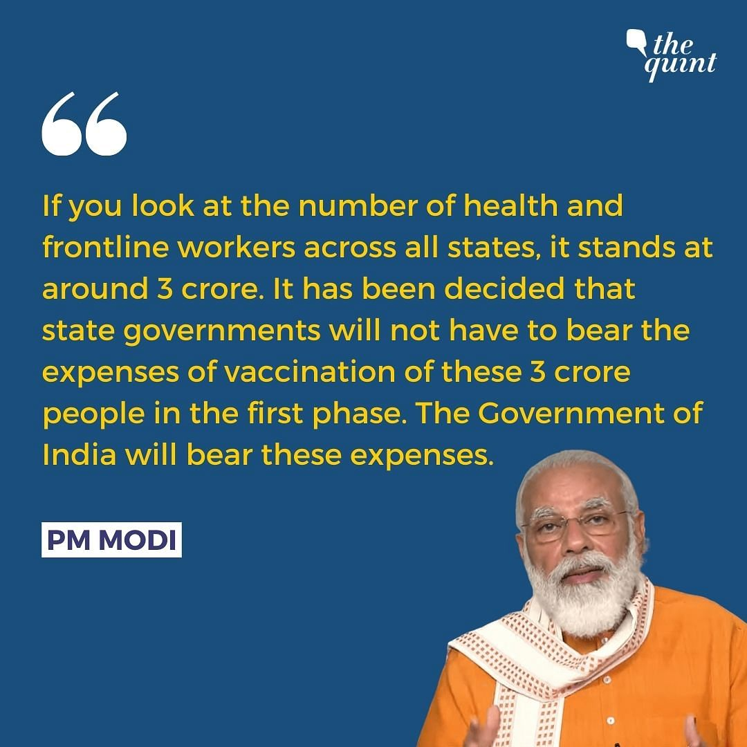 Centre to Bear Expenses for 1st Phase COVID Vaccination: PM to CMs