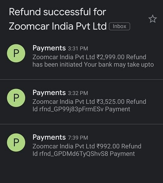 Mail sent by Zoomcar India for refund process.