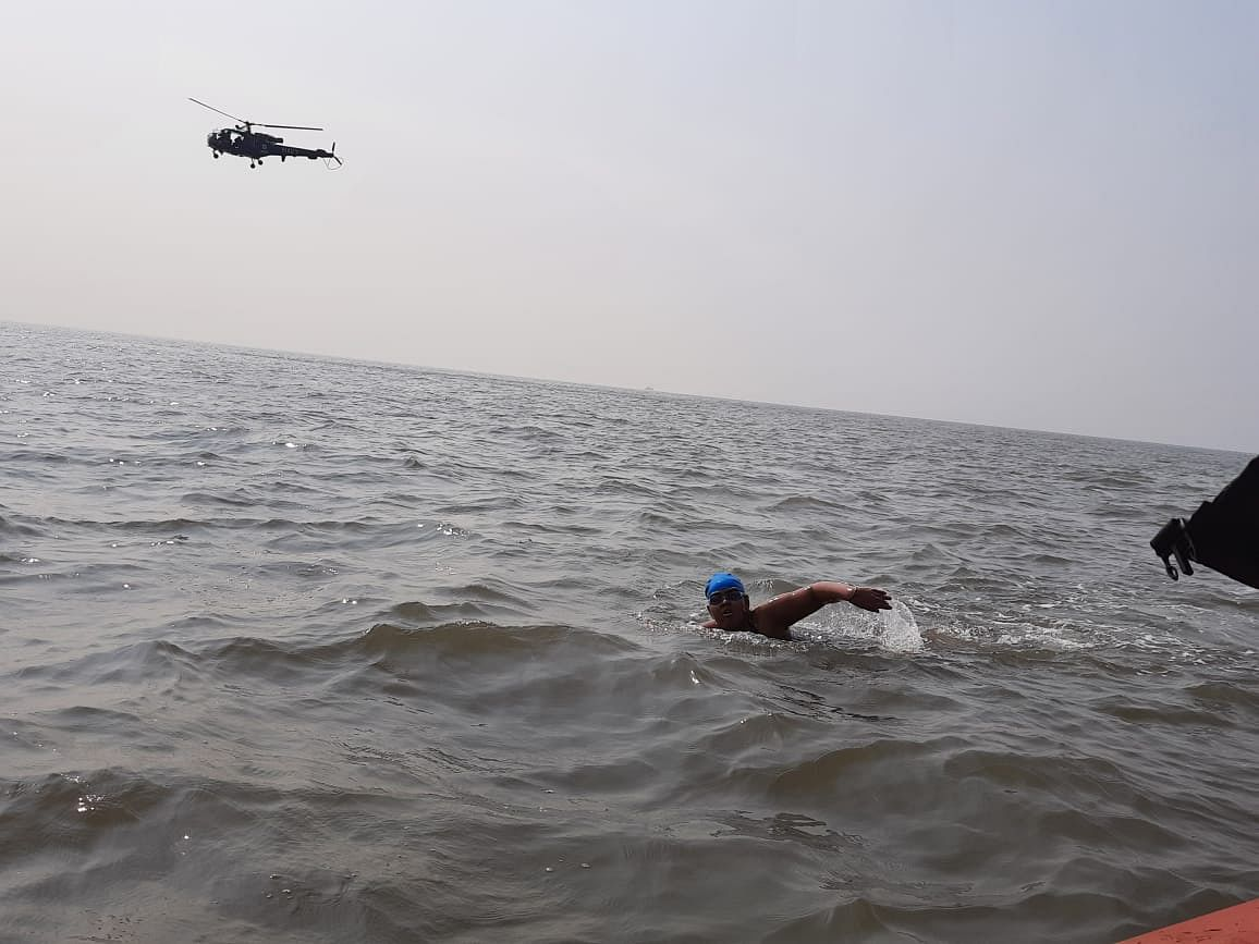 Jiya Rai, a 12-year-old daughter of a naval soldier, swims 36 kilometres to raise awareness about Autism Spectrum Disorder.
