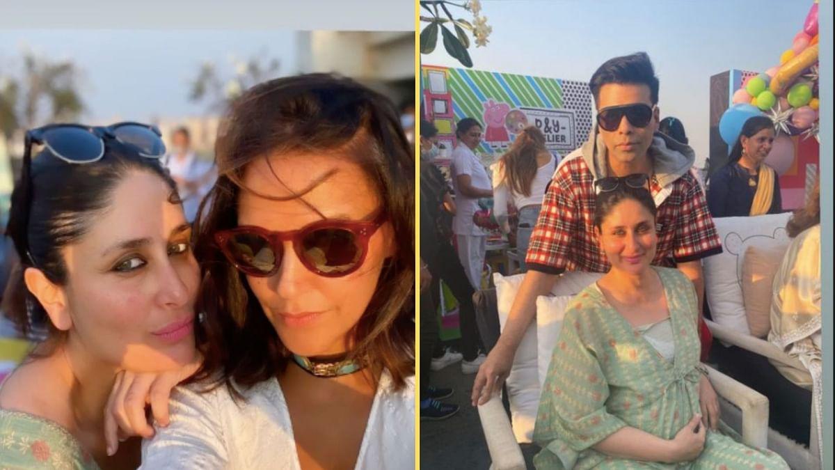 Kareena Kapoor, Neha Dhupia at Karan Johar's kids' birthday party.