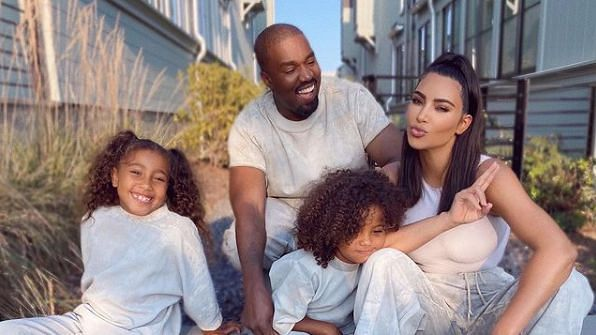 Kim Kardashian with Kanye West and kids.