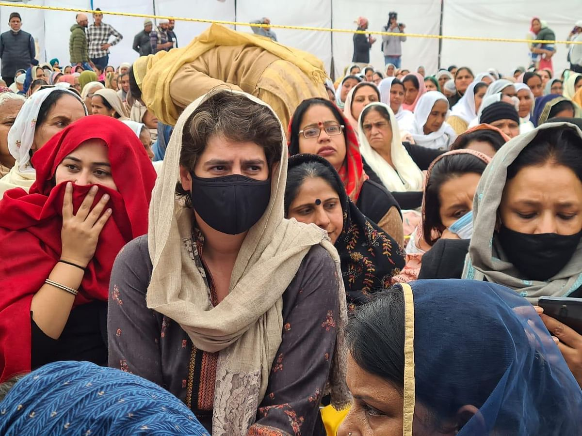 Priyanka Gandhi at the prayer meeting of Navreet Singh, who died during the farmers rally on Republic Day