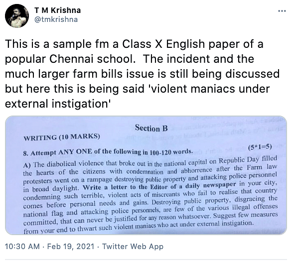 "Class 10 students of DAV were asked to come up with ""measures to thwart such violent maniacs who act under external instigation""."