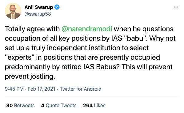 Anil Swarup's tweet.