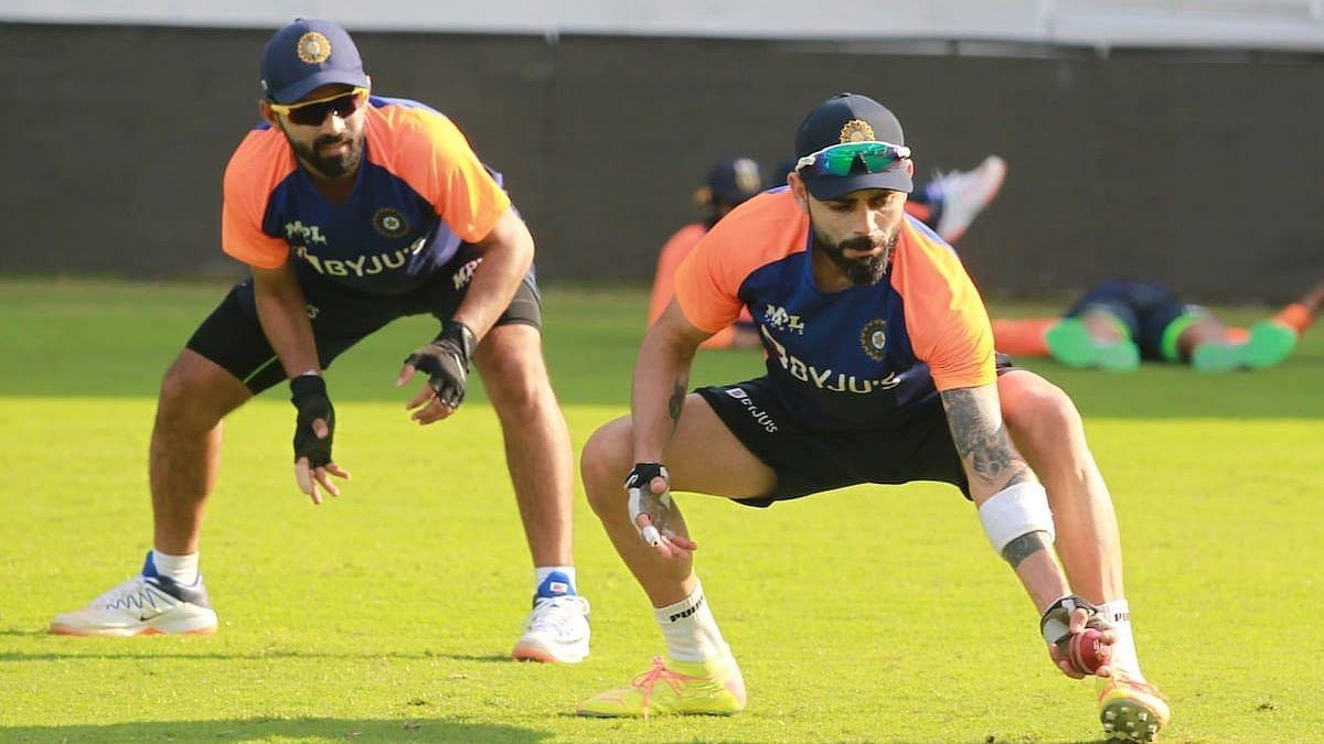 India vs England Live Streaming: Ajinkya Rahane and Virat Kohli during a training session in Chennai.