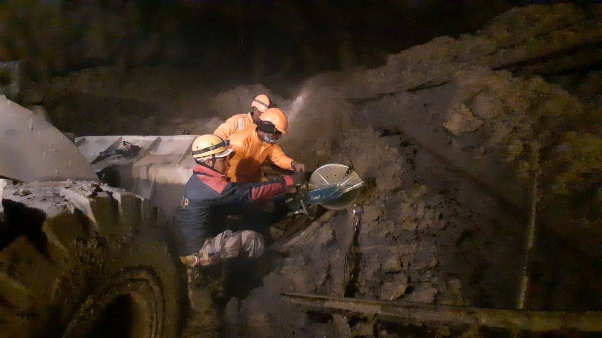 Rescue operations underway at the Tapovan tunnel.