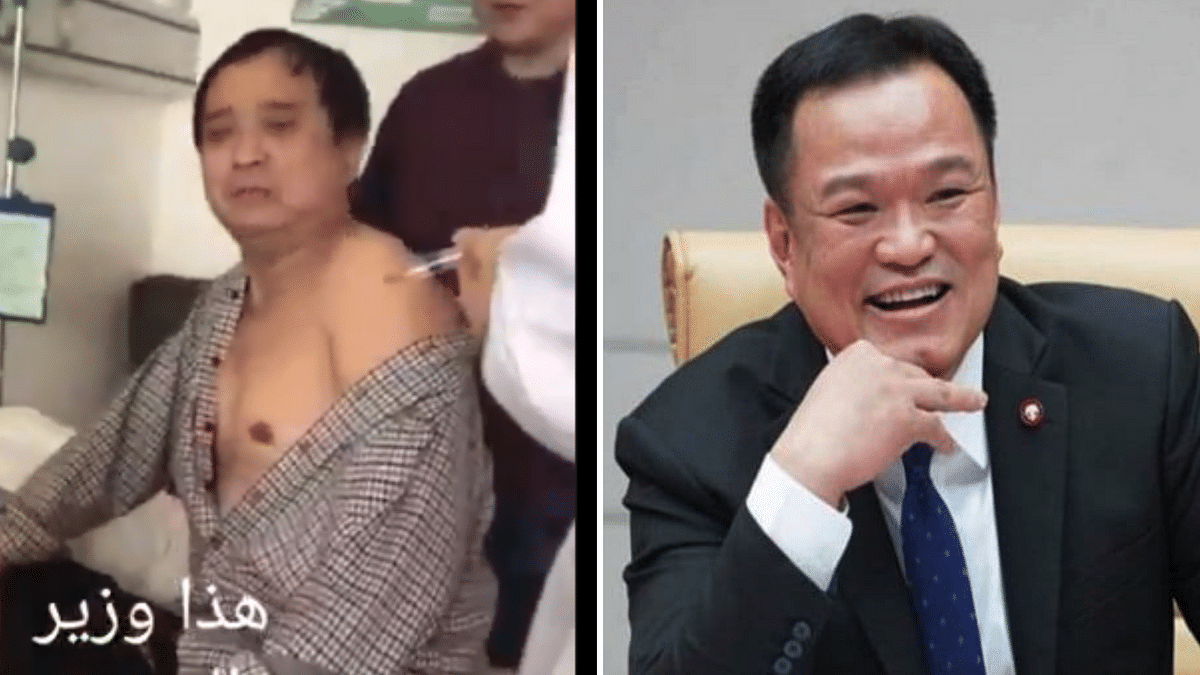 Screenshot of the person in the viral video (L) and Thailand's Health Minister Anutin Charnvirakul (R).