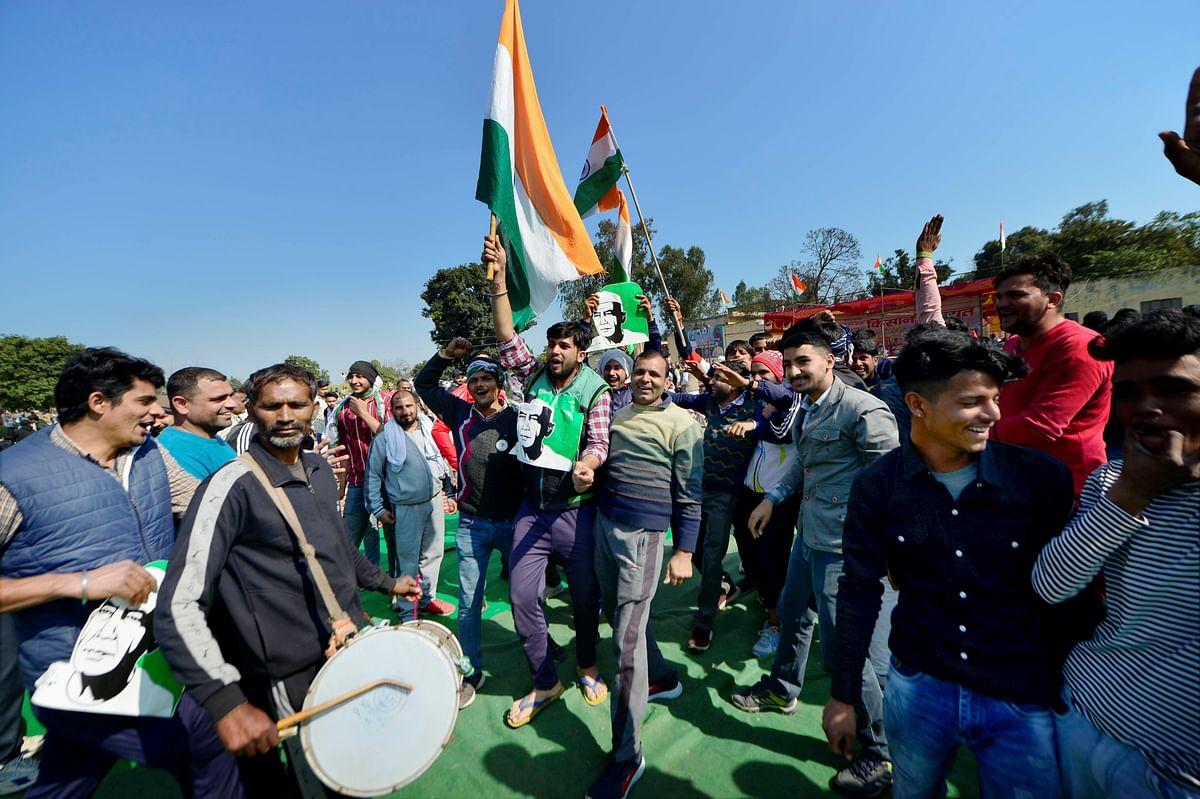 Farmers arrive to attend Kisan Mahapanchayat at Shamli in Uttar Pradesh, Friday, 5 Feb.