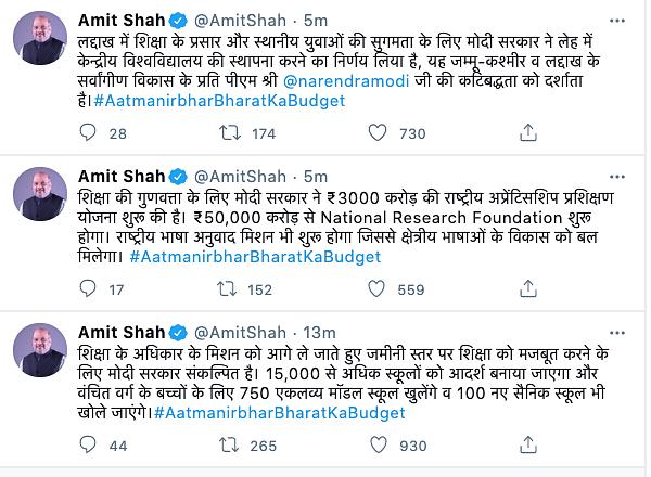Home Minister Amit Shah congratulated PM Modi and finance minister, Nirmala Sitharaman on twitter