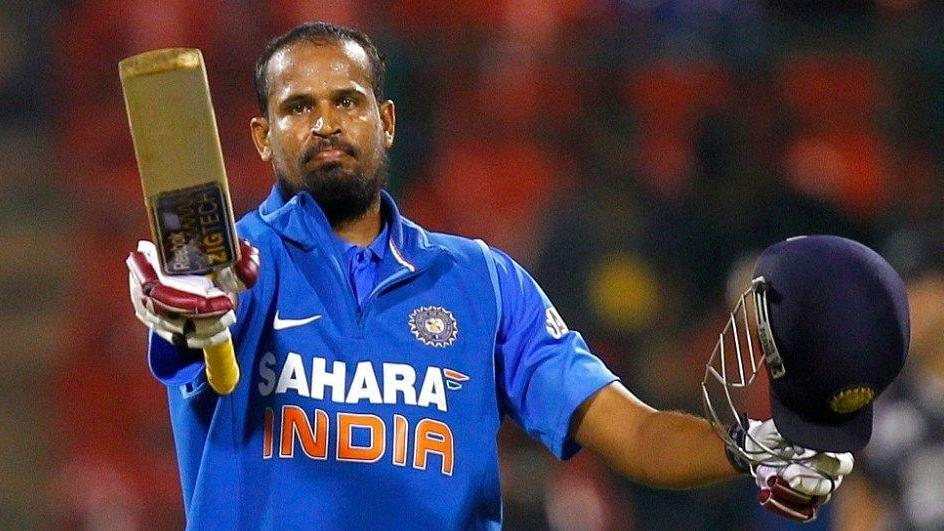 Yusuf Pathan celebrates scoring a half-century for India.