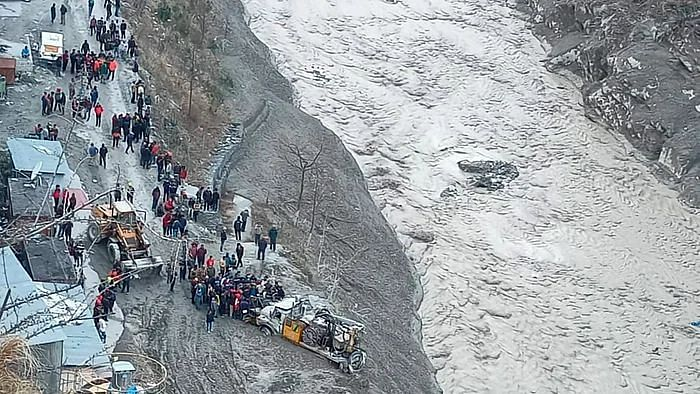 Rescue operations underway near Dhauliganga hydropower project after a glacier broke off in Joshimath causing a massive flood in the Dhauli Ganga river, in Chamoli district of Uttarakhand.